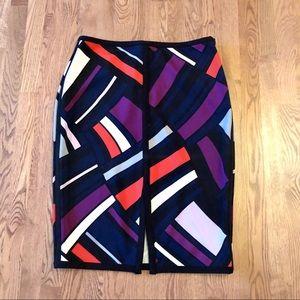 Worthington Color Block Pencil Skirt Stretchy Slit